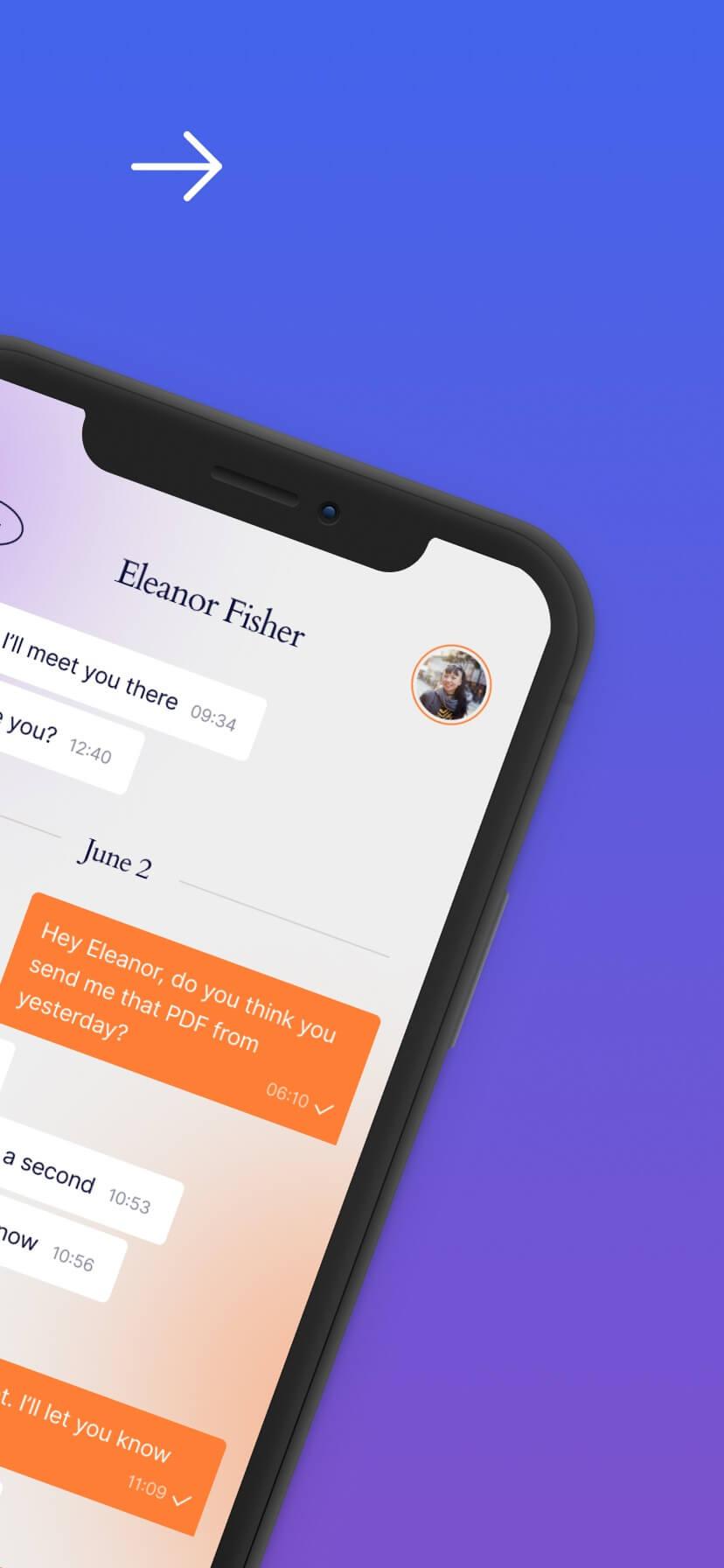 Blue and purple gradient app store screenshot #2
