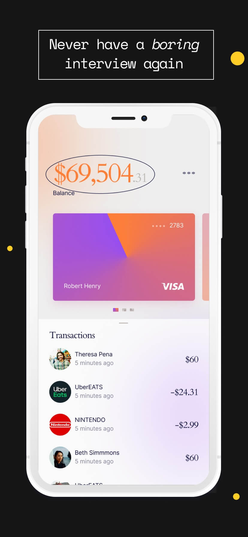 Black app store template with white iPhone mockup and monospace font #1