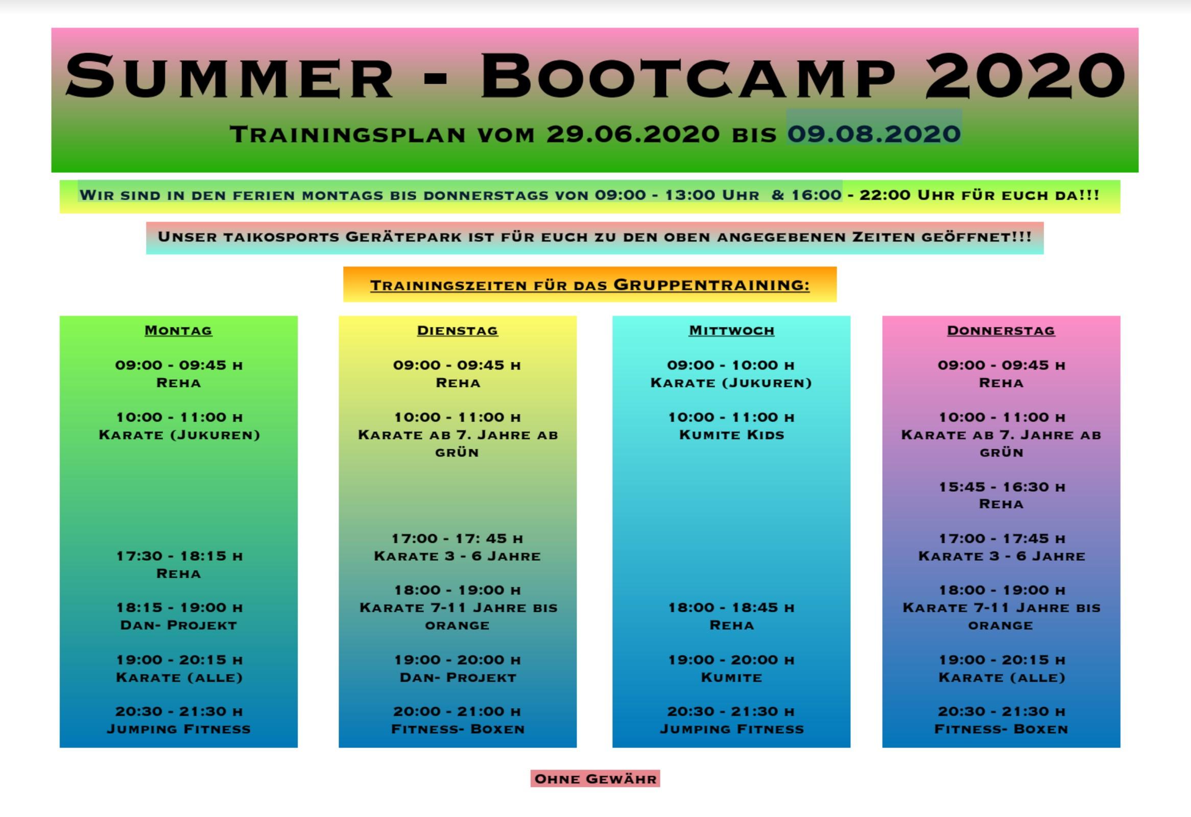 Summer-Bootcamp 2020 Plan