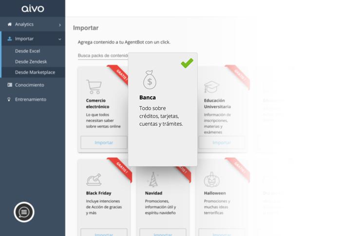La plataforma de Aivo ofrece paquetes pre armados con contenidos según industrias o eventos para descargar gratis en el bot.
