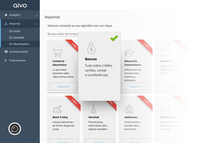 A plataforma da Aivo oferece pacotes pré-montados com conteúdo de acordo com setores ou eventos para importar gratuitamente no bot.