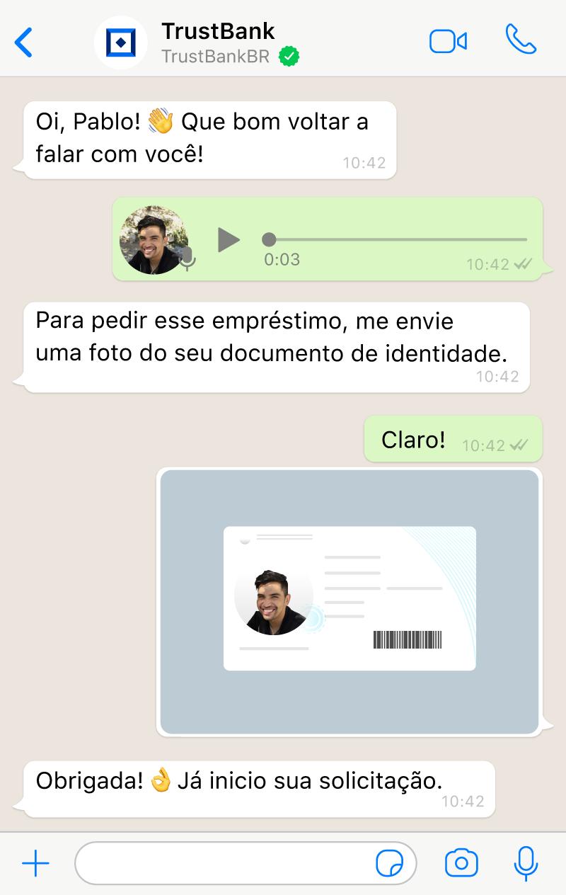 Conversa entre um agente no live chat com IA da Aivo e um usuário usando imagens, mensagens de voz e emojis.