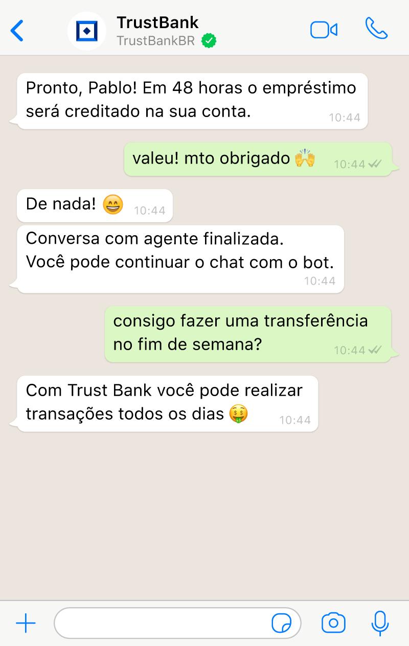 A sessão retorna ao chatbot com AI após o término da conversa entre o usuário e o agente no live chat.