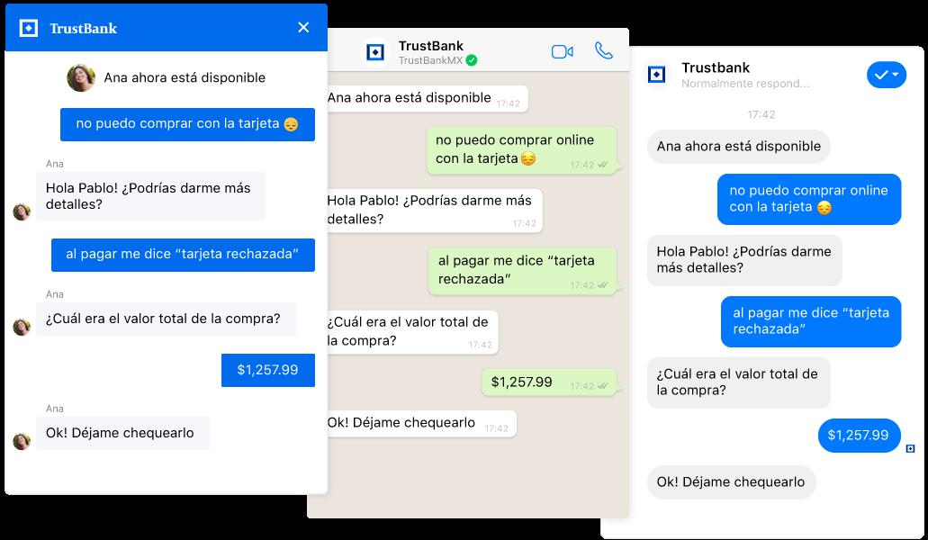 Transferencias perfectas de un chatbot a un agente en un chat omnicanal en vivo desde los canales web, WhatsApp y Facebook Messenger.
