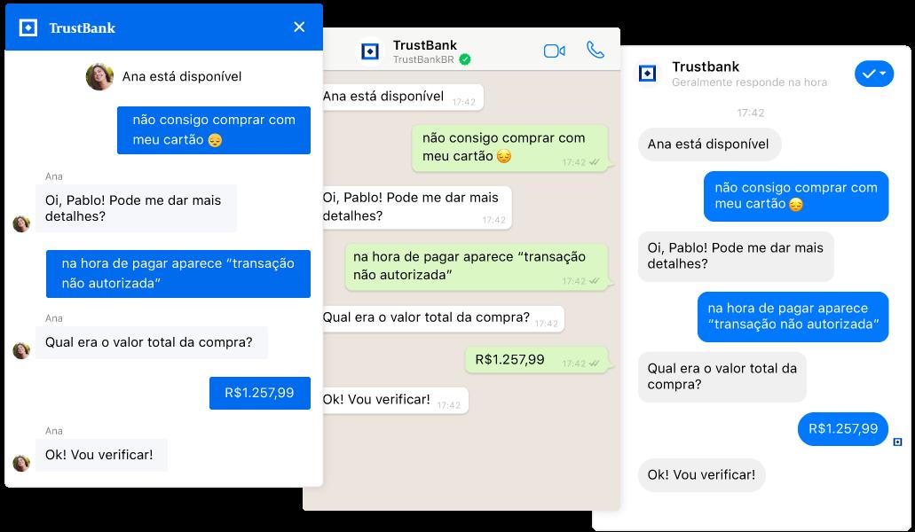 Transferências sem problemas de um chatbot para um agente num chat omnichannel ao vivo a partir dos canais web, WhatsApp e Facebook Messenger.
