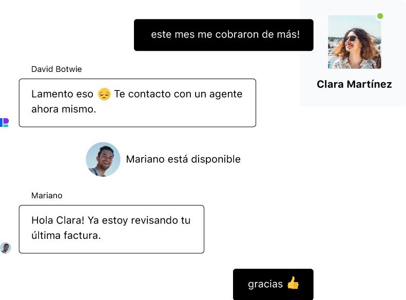 Una persona chatea con un chatbot pero como la consulta requiere de atención humana, es derivada a un agente en un live chat.