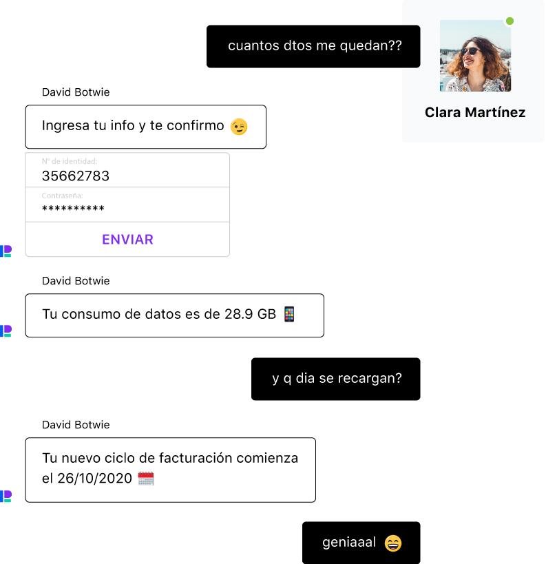 Conversación entre una persona y un chatbot que, gracias a su IA conversacional, entiende lenguaje natural, errores y emojis.