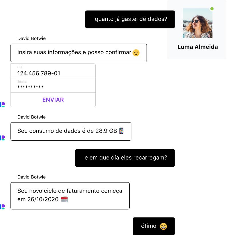 Conversa entre uma pessoa e um chatbot. Graças à sua IA conversacional, o bot entende linguagem natural, erros e emojis.