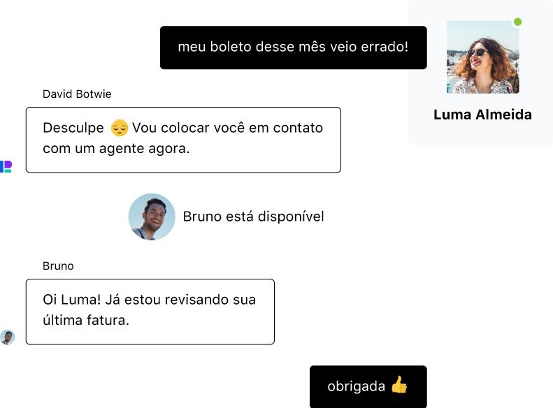 Uma pessoa conversa com um chatbot, mas como a consulta requer atenção humana, ela é transferida para um agente em um live chat.