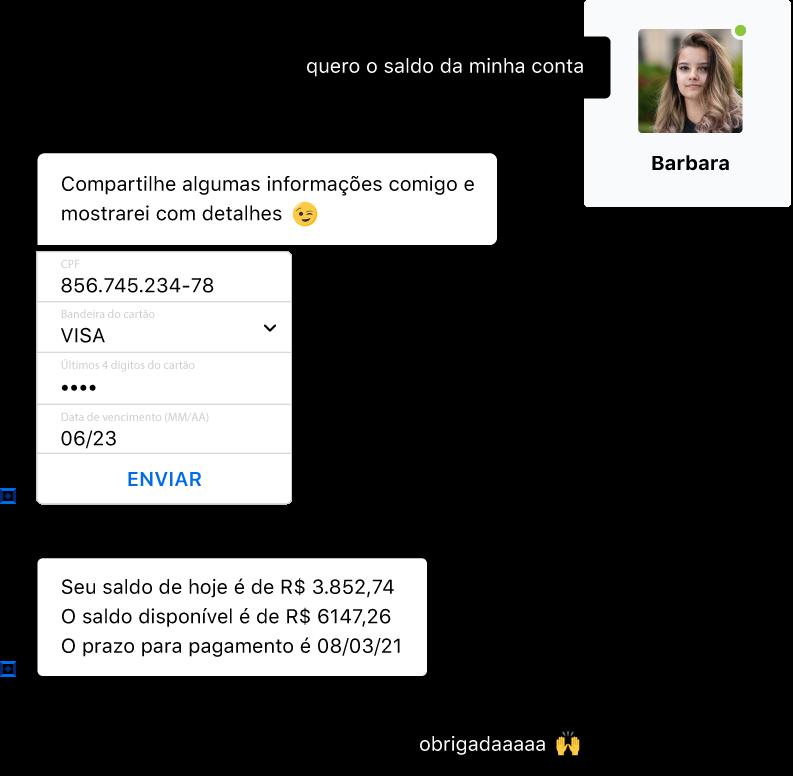 Conversa entre um cliente e um bot conversacional para serviços financeiros. O cliente solicita o saldo do cartão, preenche um formulário e o bot responde.