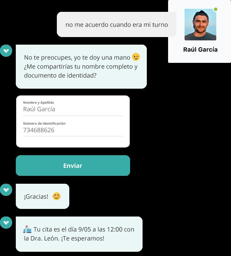 El cliente conversa con el bot y resuelve una duda sobre pagos del servicios al instante.