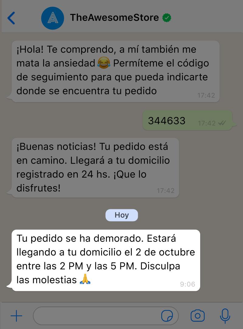 Un chatbot con IA para WhatsApp le envía una notificación proactiva a un cliente avisándole que su orden está retrasada.