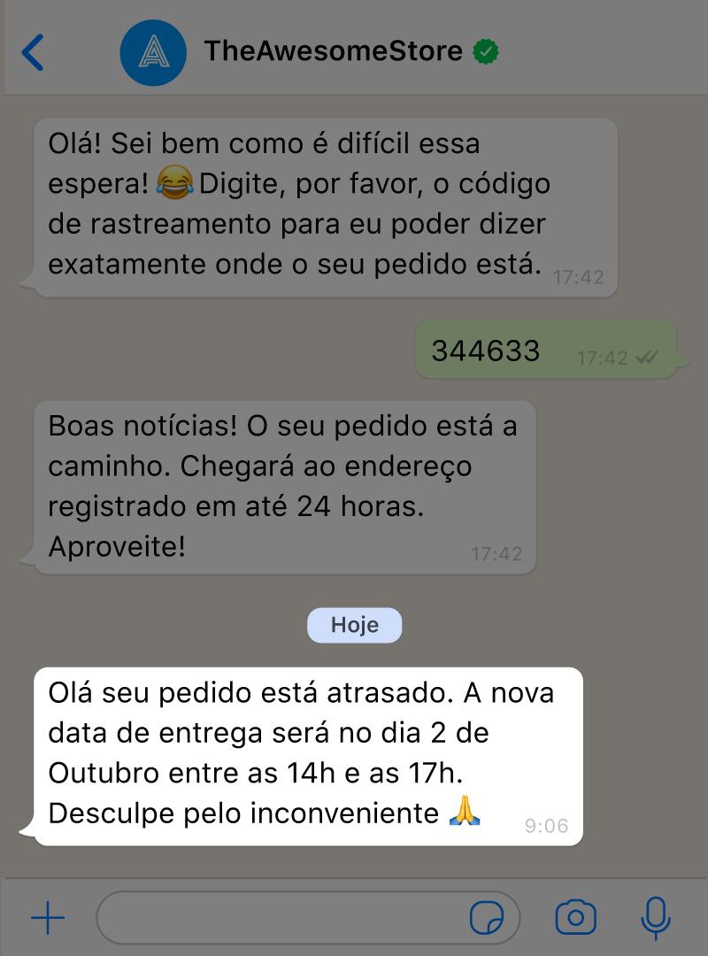 Um chatbot com IA para WhatsApp envia uma notificação proativa para um cliente notificando-o de que seu pedido está atrasado.