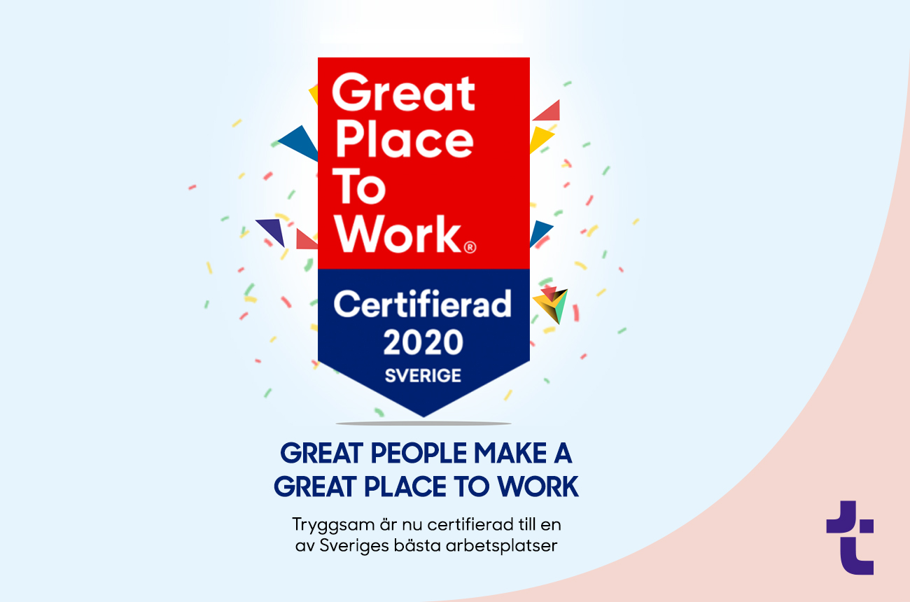 Tryggsam erhåller certifiering från Great Place to Work 🚀🚀🚀