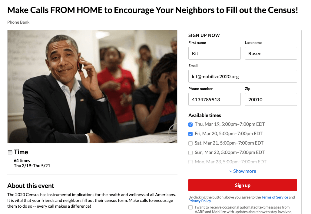 Call neighbors from home for a good cause