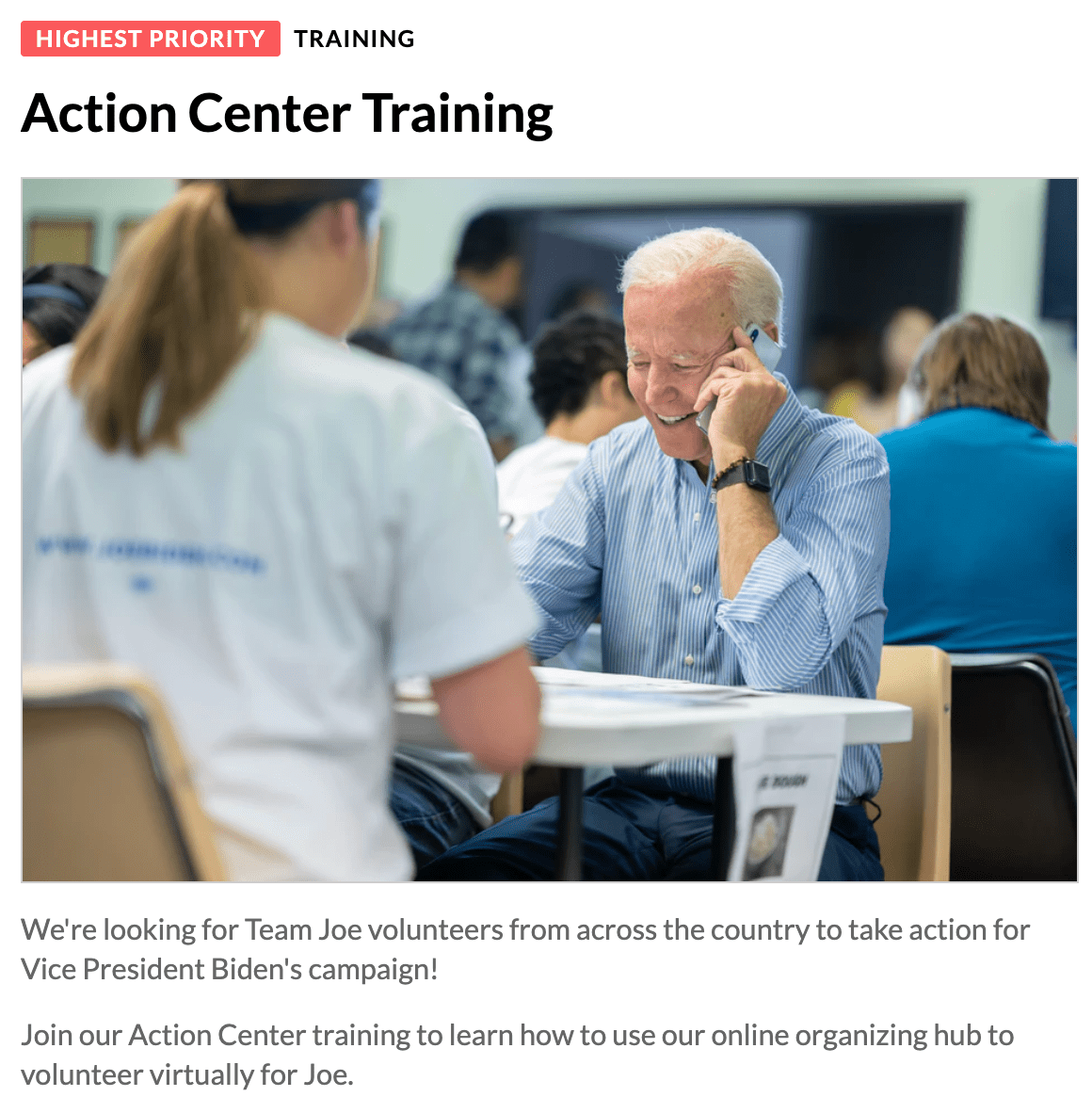 Action center training can be held virtually