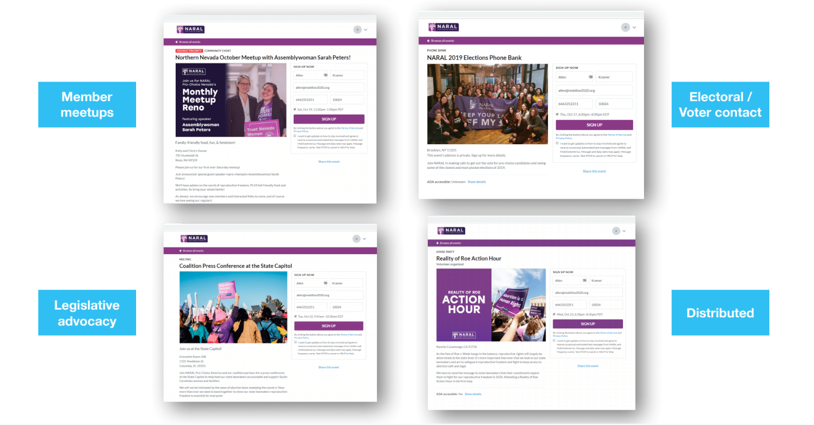 NARAL used the Mobilize platform of volunteer management software to grow its impact and pursue its mission.