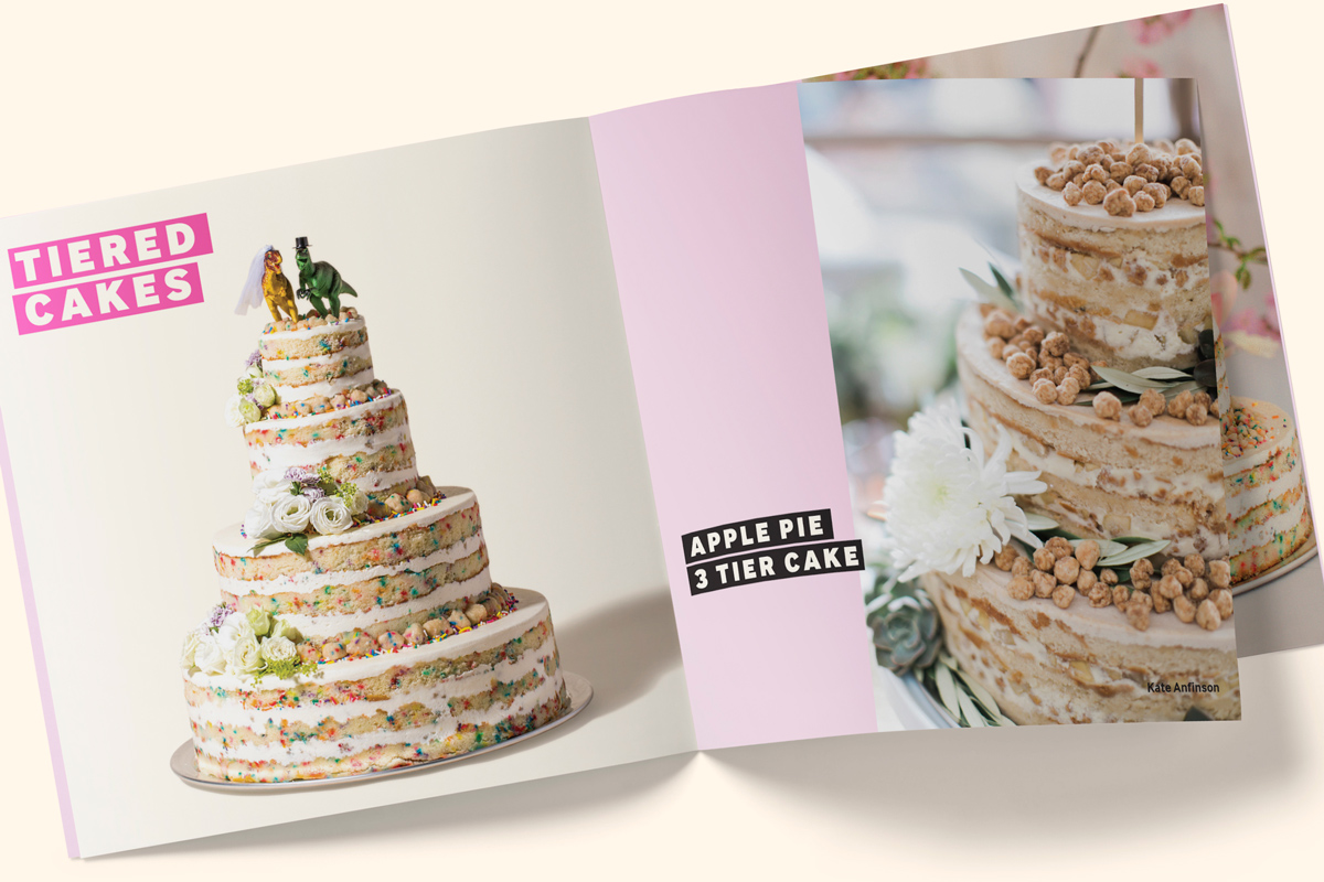Wedding Cake Bakery Brochure Catalogue showing naked cake with novelty topper