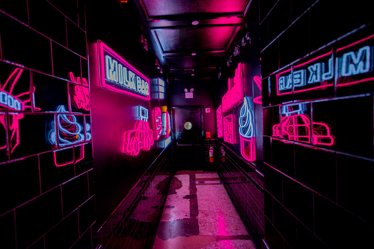 Center View of Neon Hallway