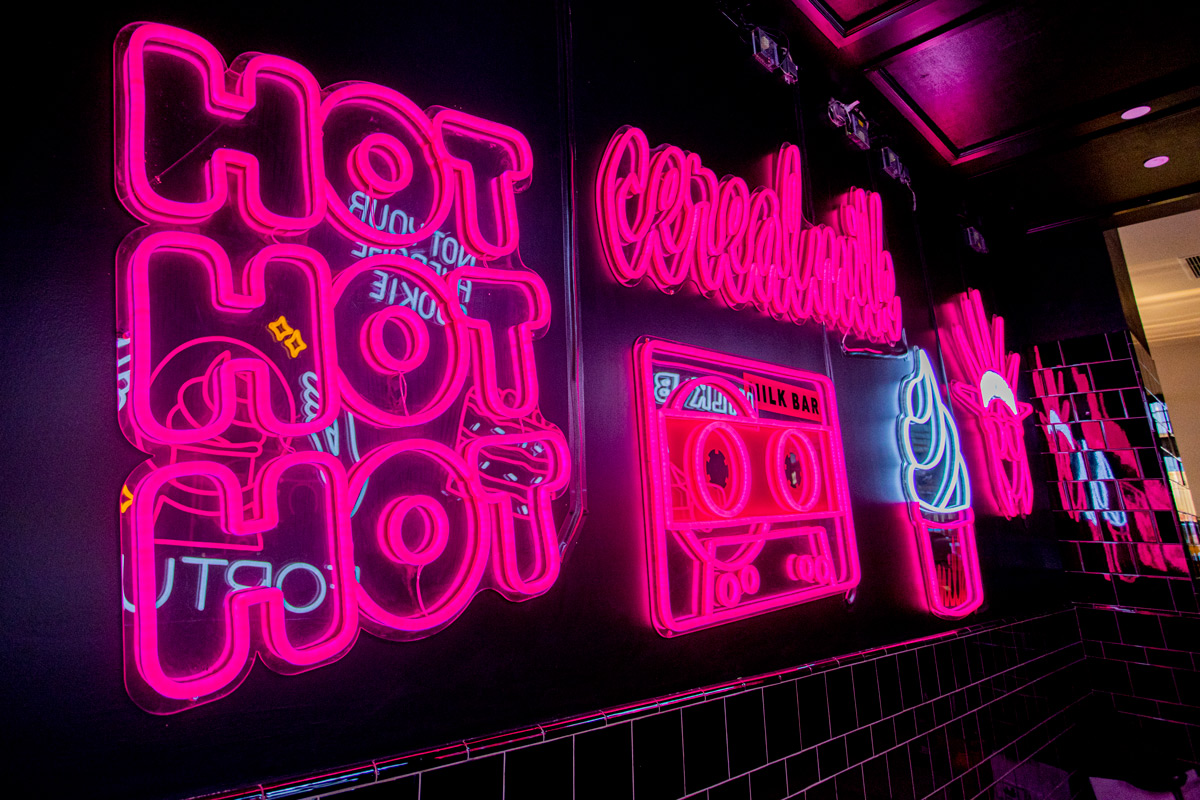 Right Side View of Neon Hallway