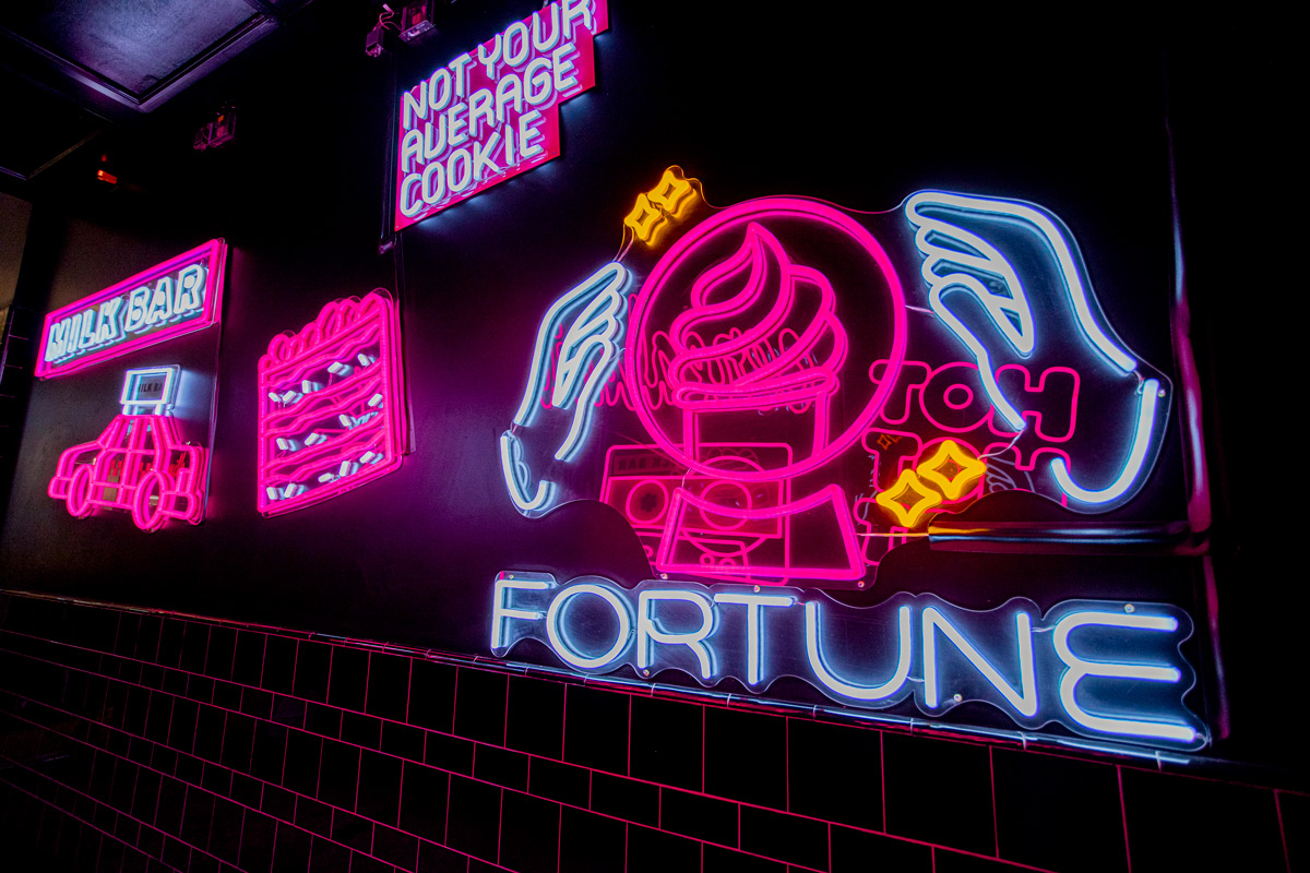 Left Side View of Neon Hallway