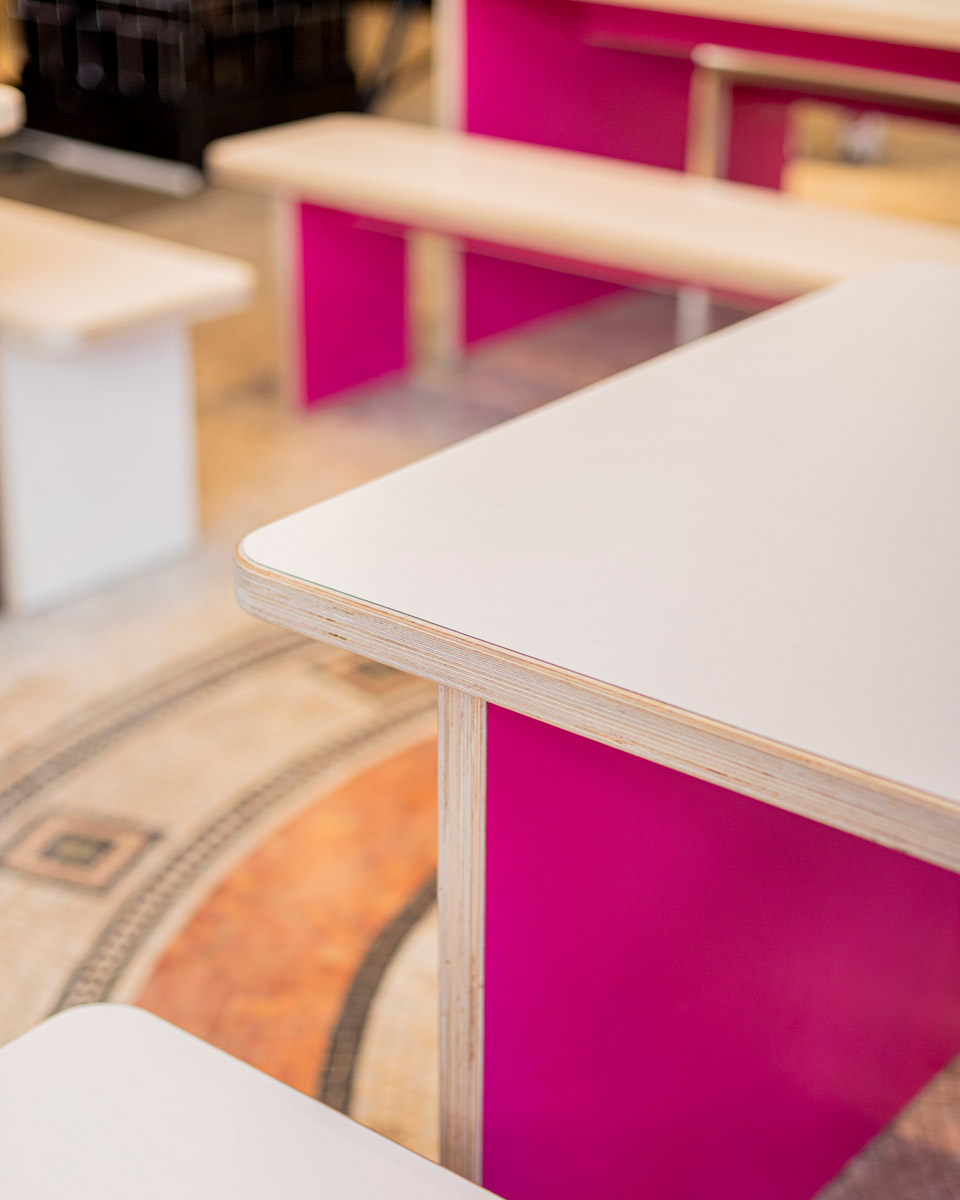 Detail view of custom designed luncheon tables