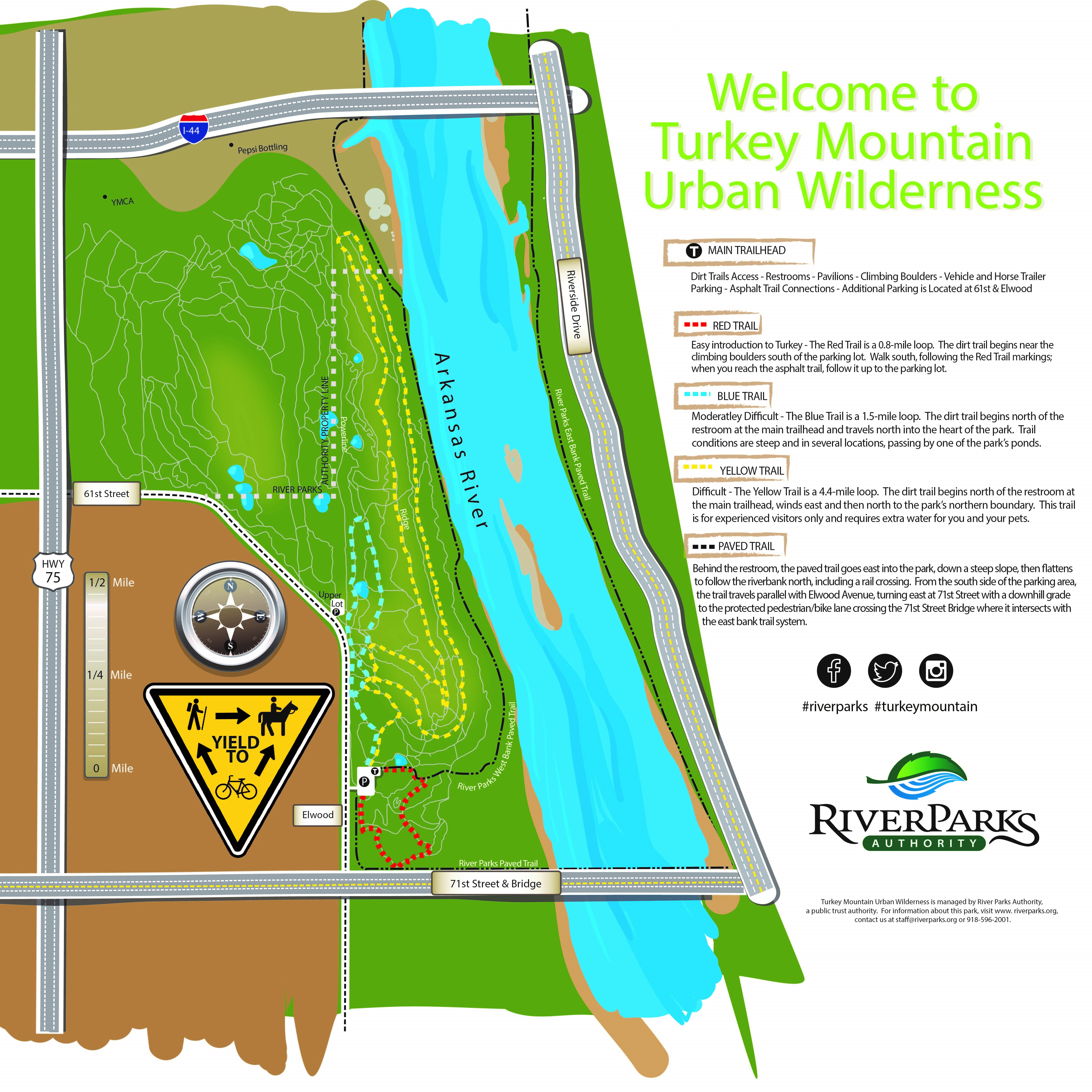Map of Trails at the Turkey Mountain Urban Wilderness in Tulsa, OK