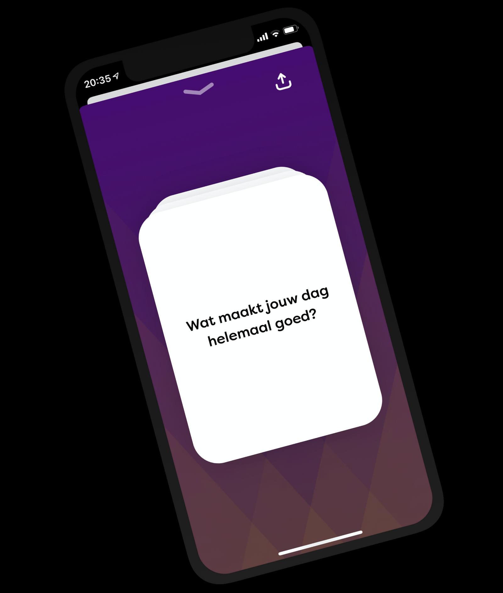 De app met een voorbeeld van een card met vraag