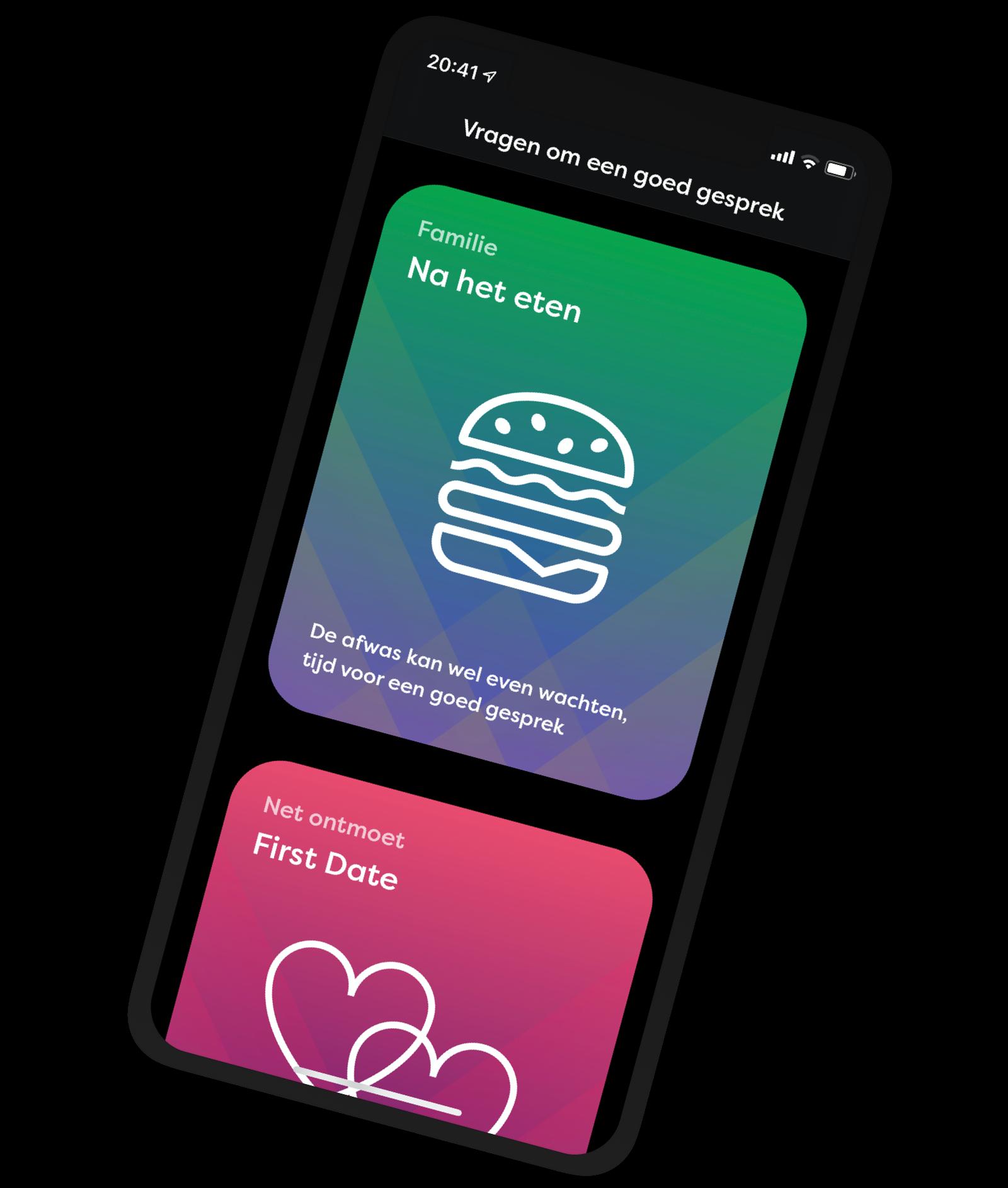 De app met een voorbeeld van hoe dark theme er uit ziet