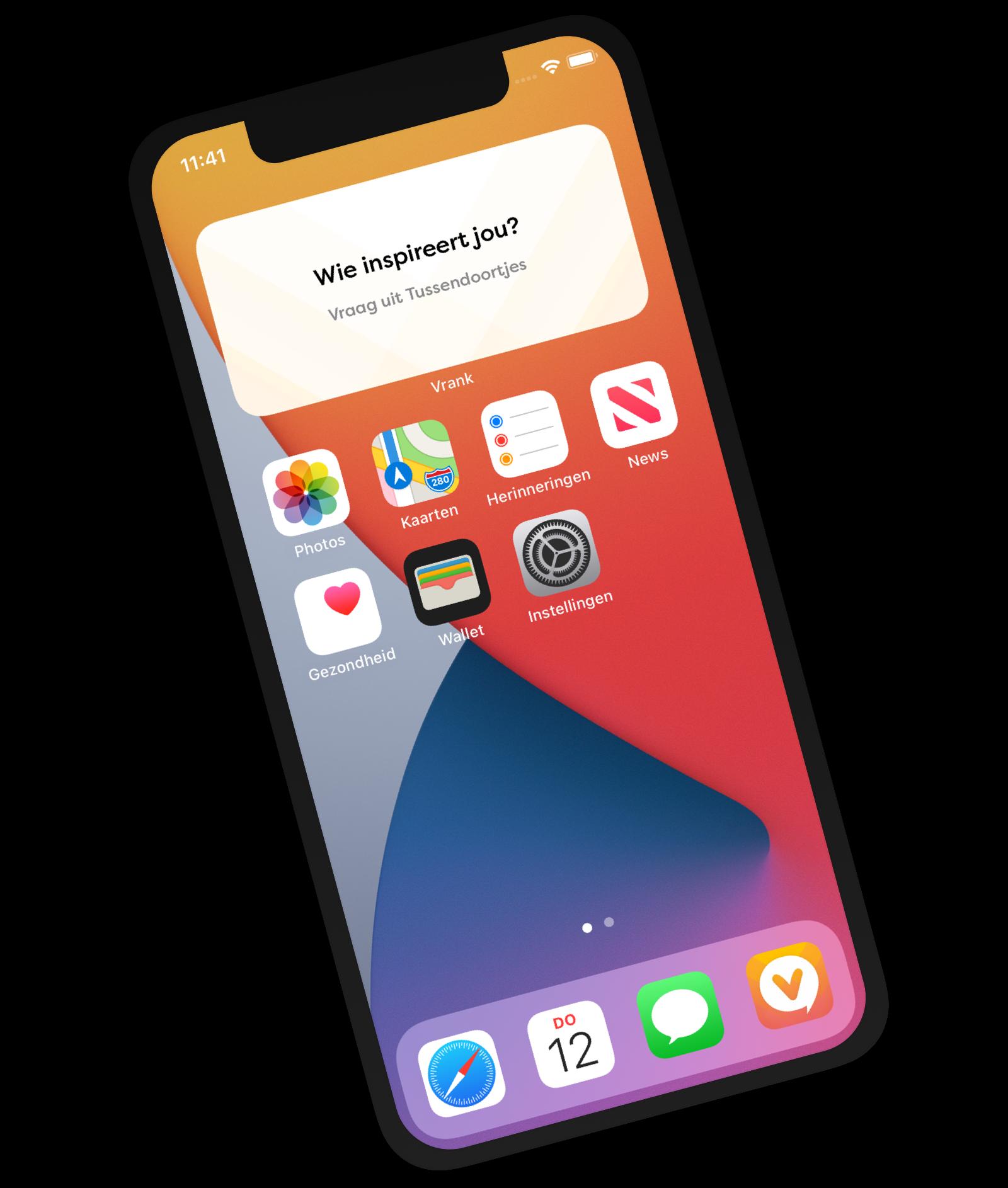 Vrank app met voorbeeld van een widget