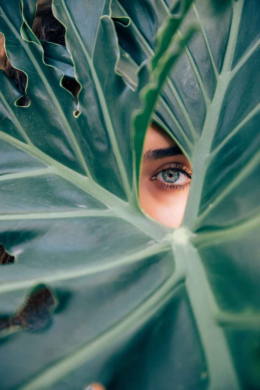 A woman peeking through a large leaf.