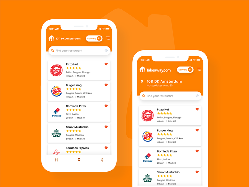 🍴 Takeaway.com Redesign eat thuisbezorgd pyszne list 7ninjas order food takeaway mobile interface