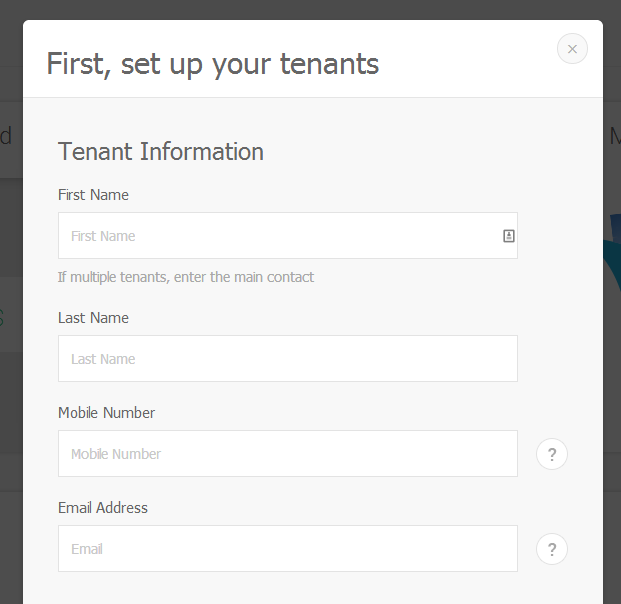 Example of Create New Tenant Modal