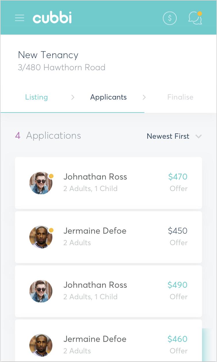 New tenant screenshot