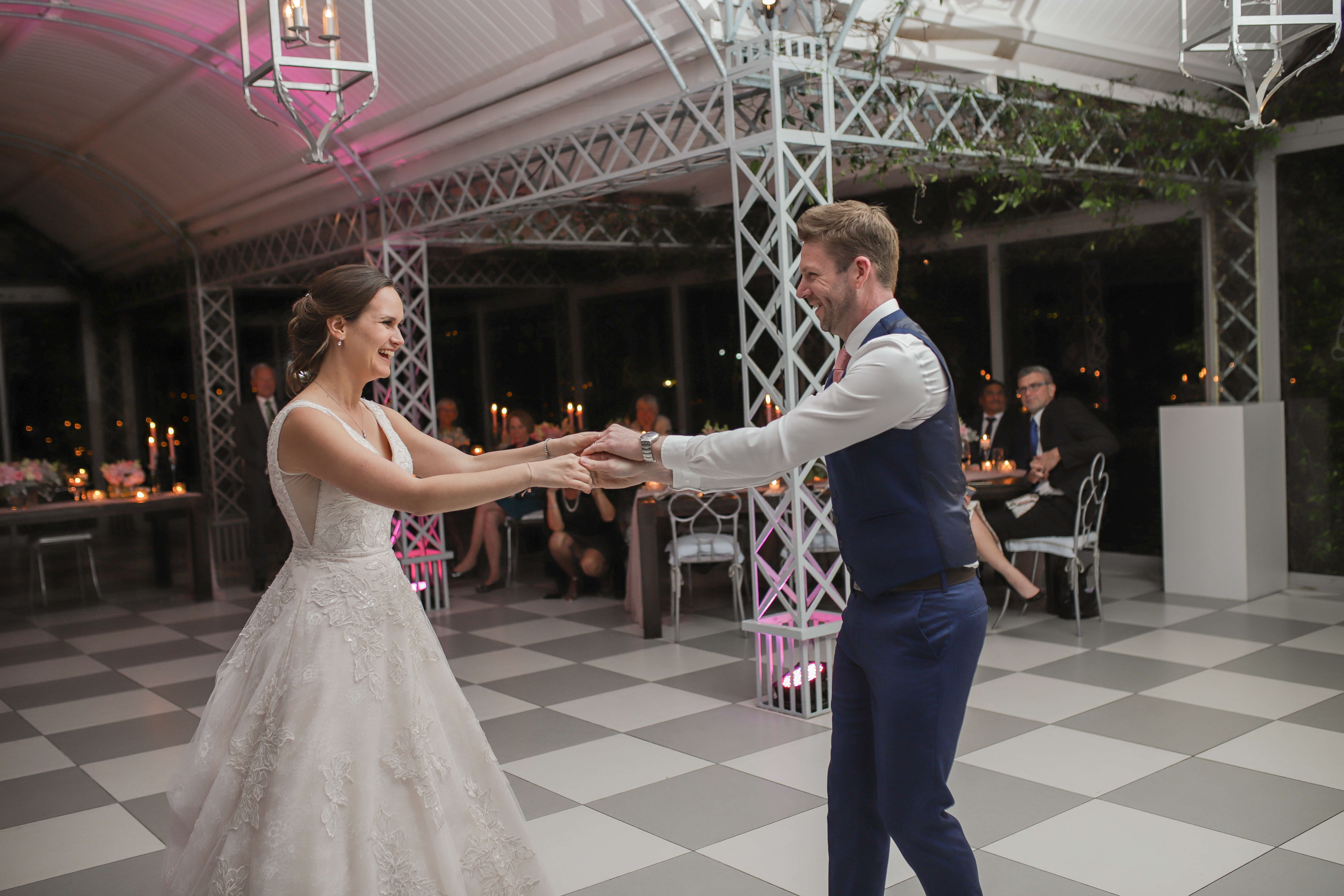 A middle aged couple dancing at their Stellenbosch wedding to the best wedding DJs in Cape Town, South Africa and the world.