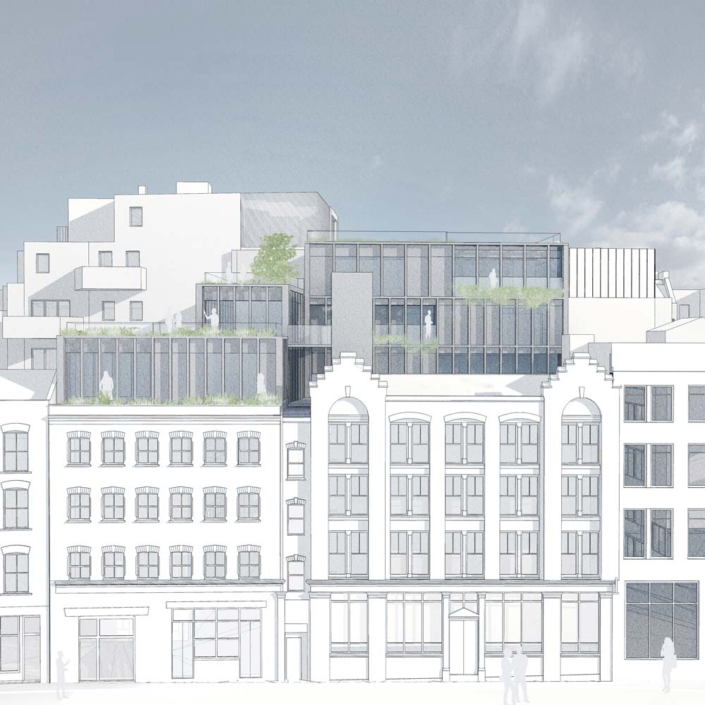 A line drawn elevation of a timber residential three-storey extension to an historic building in Shoreditch, London