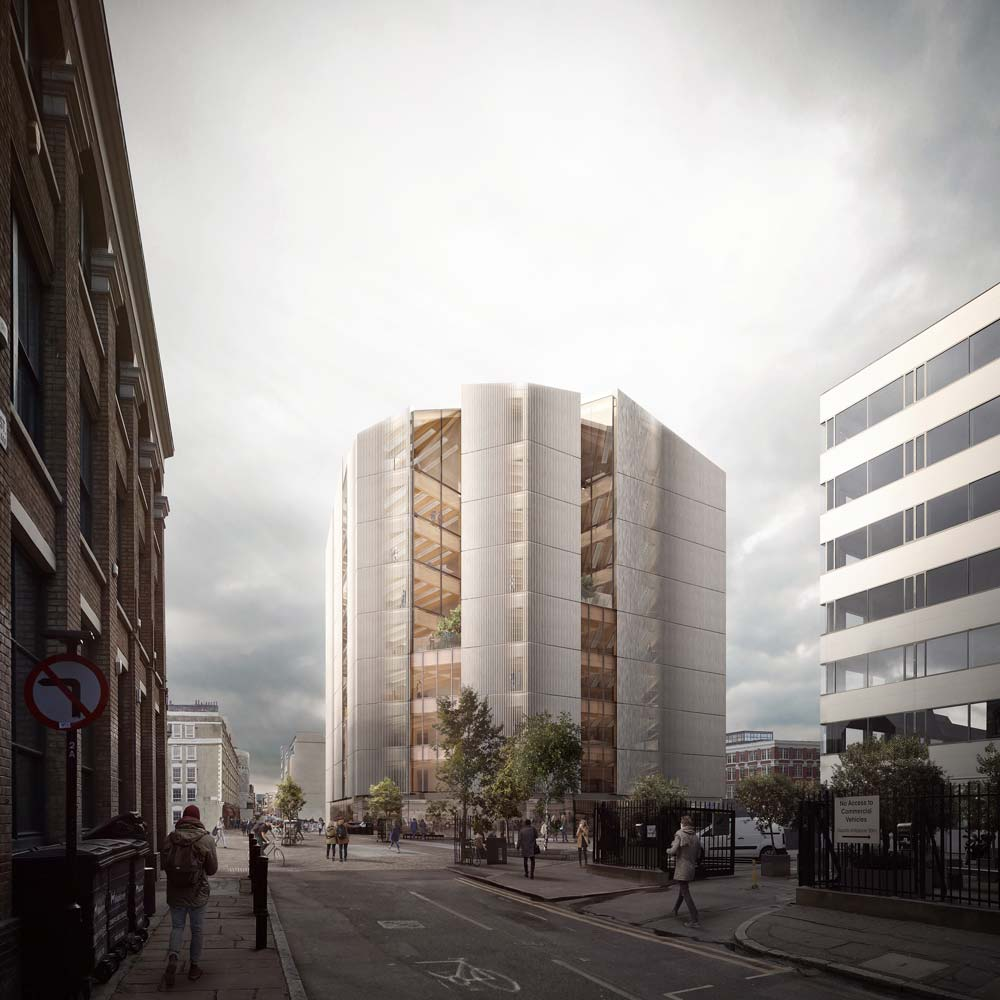 An architectural rendering of a timber office building with a vertical louvered facade in Shoreditch, London