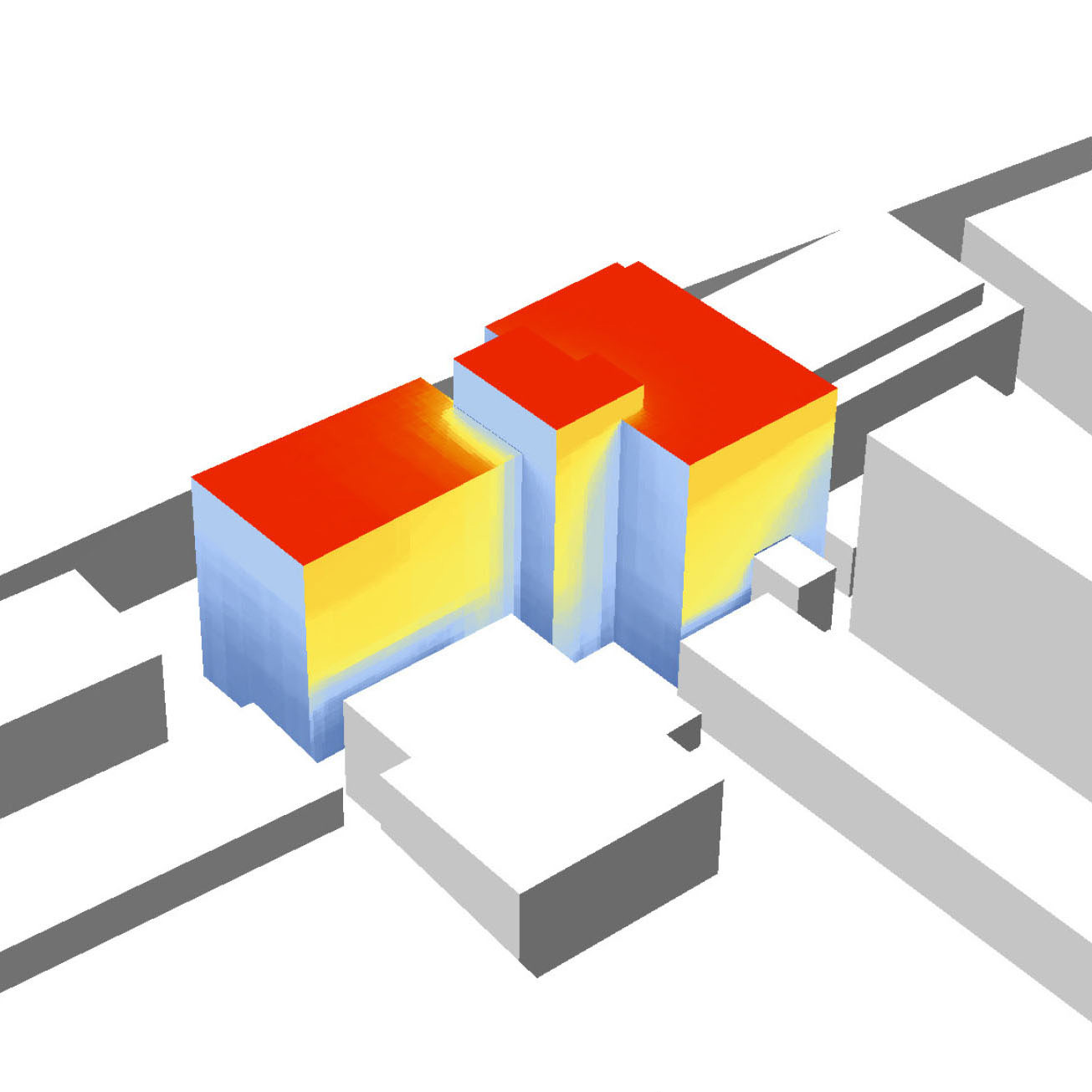 A heat mapped view of a building showing the building's environmental impact