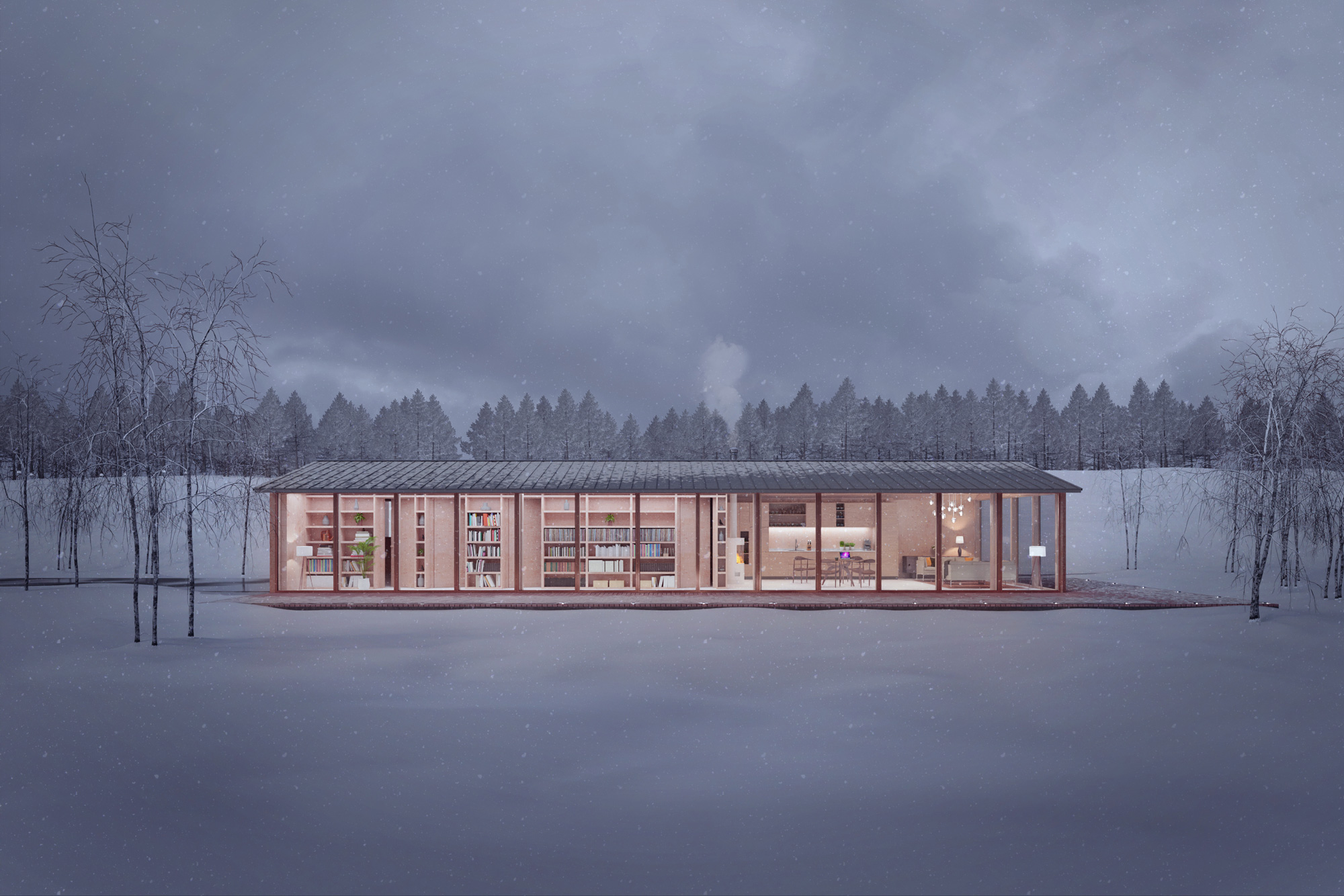 A contemporary sustainable timber home, with glazed walls in a snowy landscape