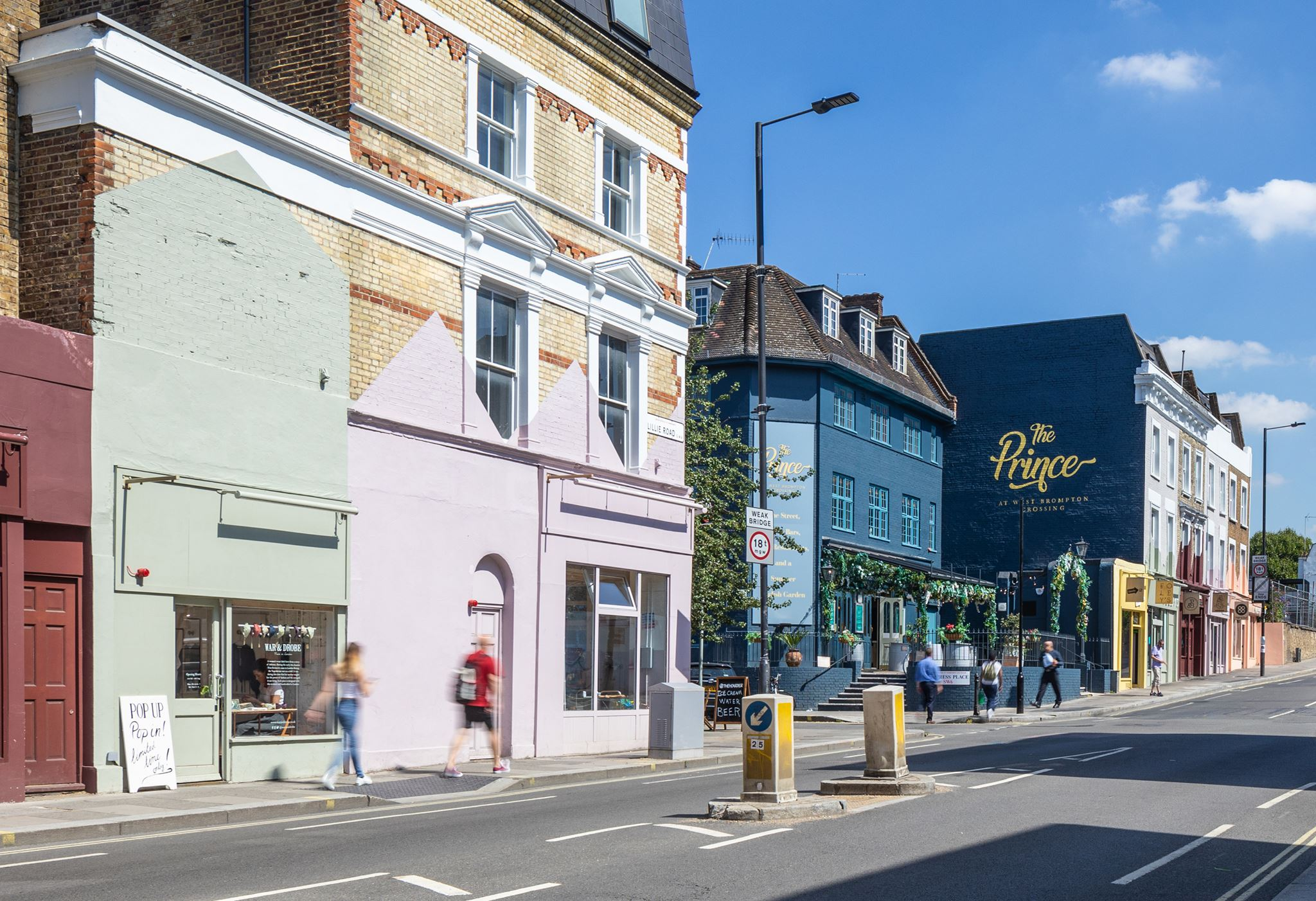 Colourful shops and restaurants on a pop-up high street