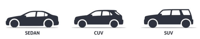 Image of sedan/CUV/SUV lineup