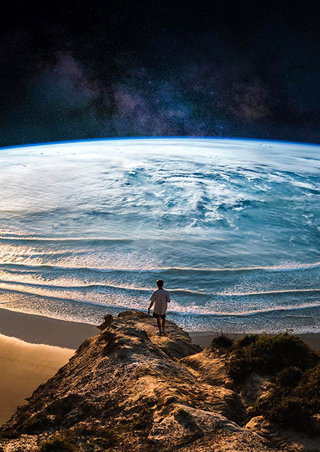 earth with beach