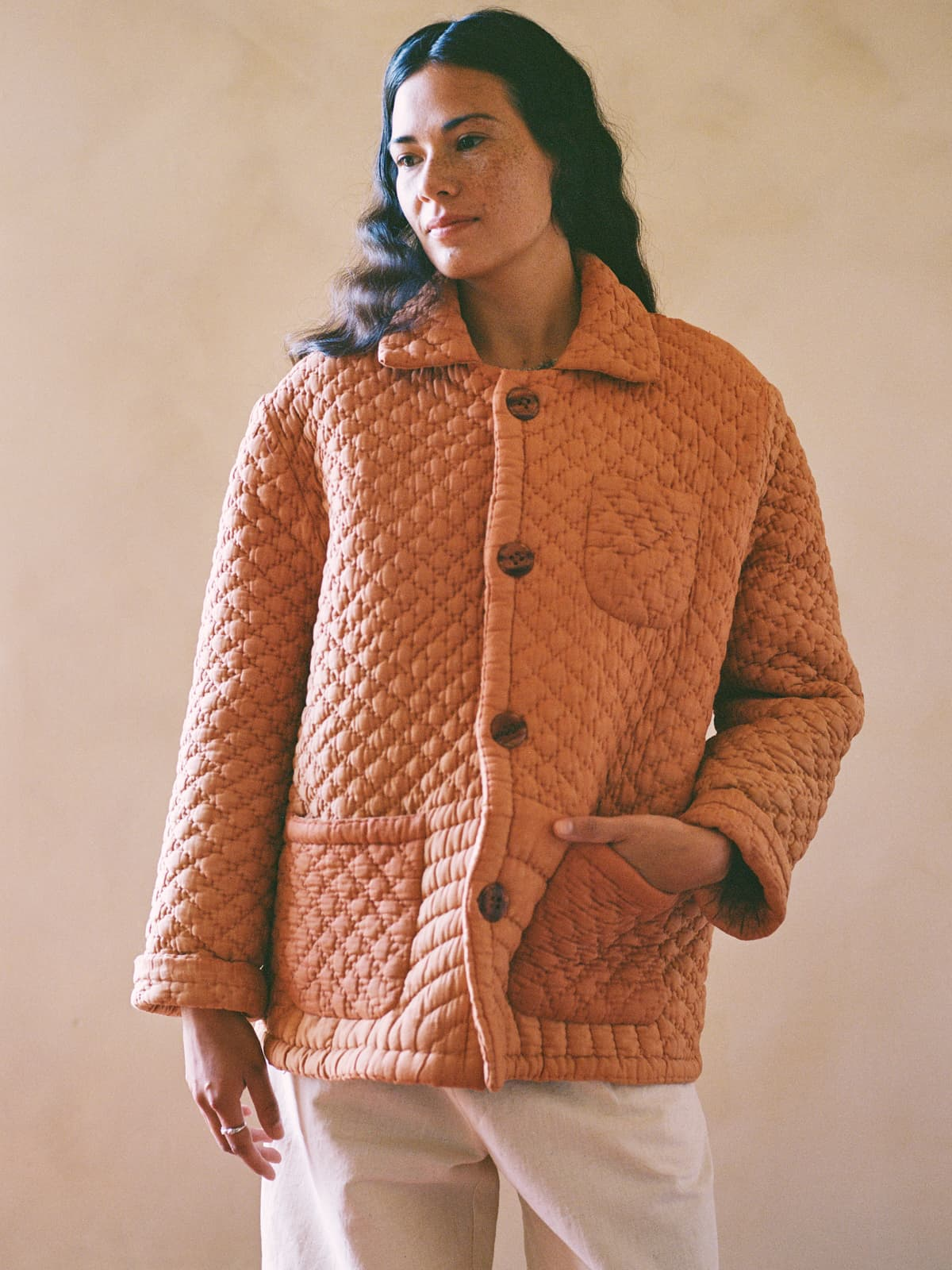 sun faded quilt jacket