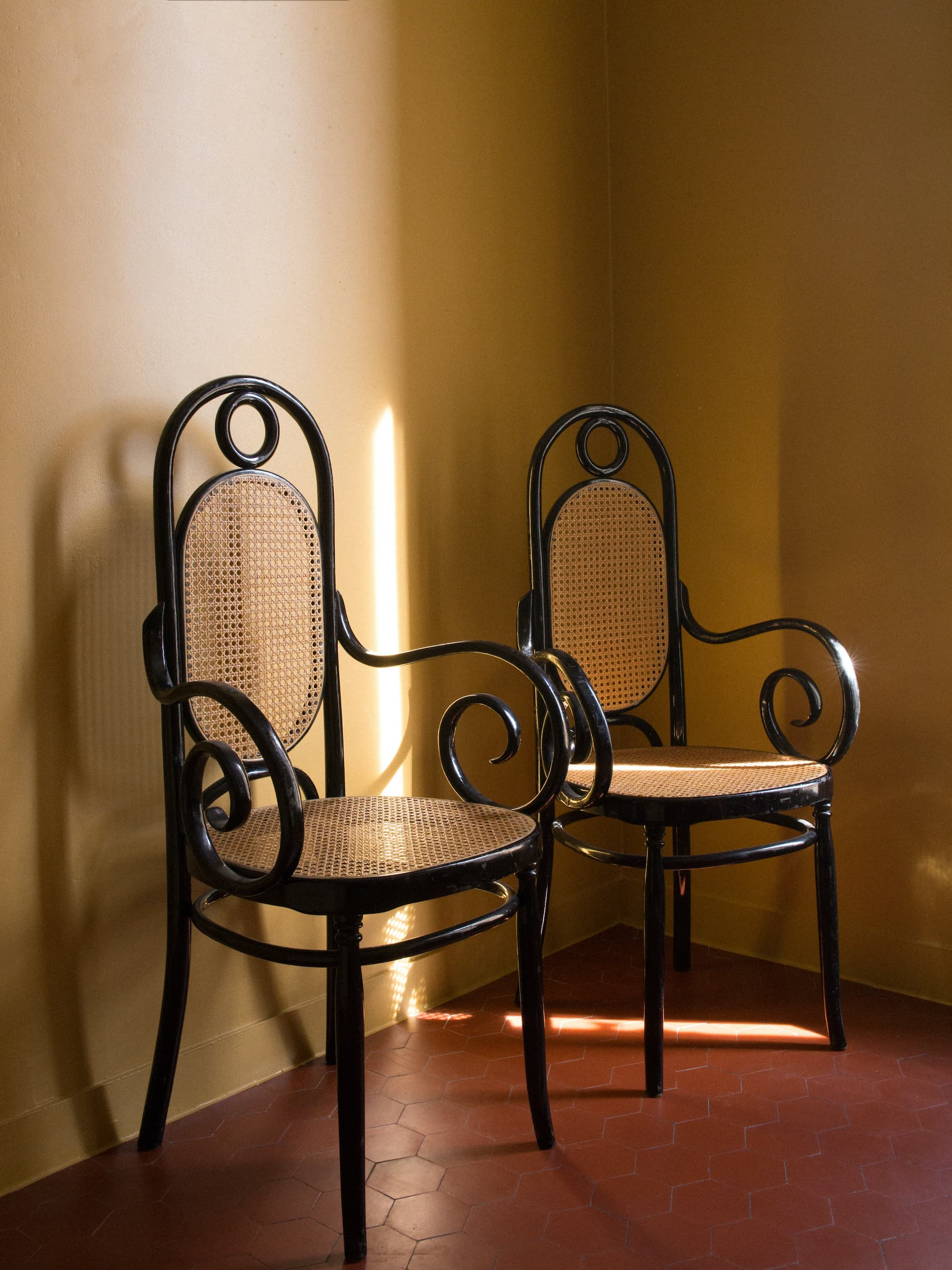 Pair of high back armchairs, 30's