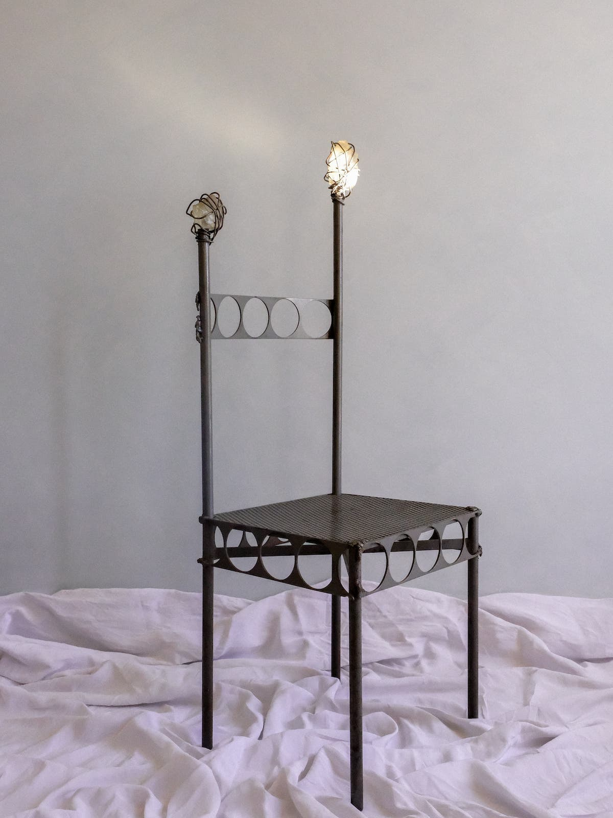 Metal chair with hammered glass, 80's