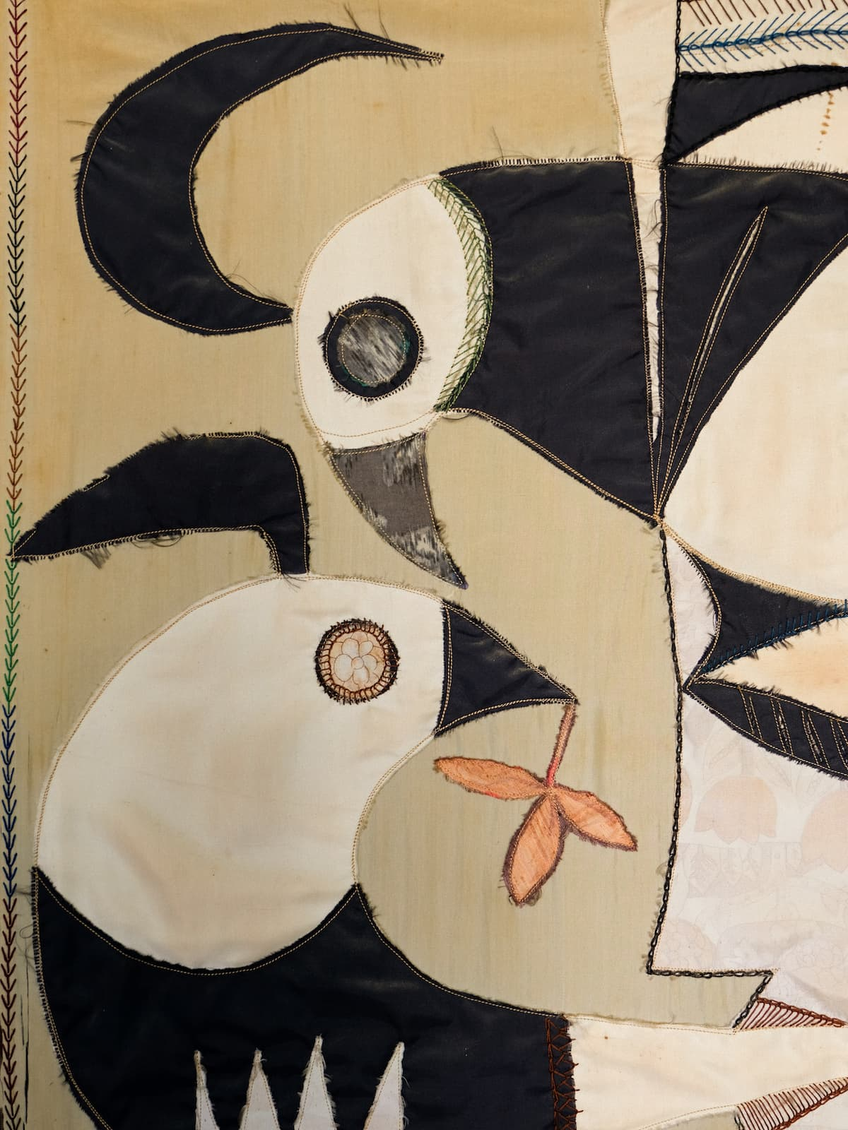 Silk tapestry in applied pieces, 60's