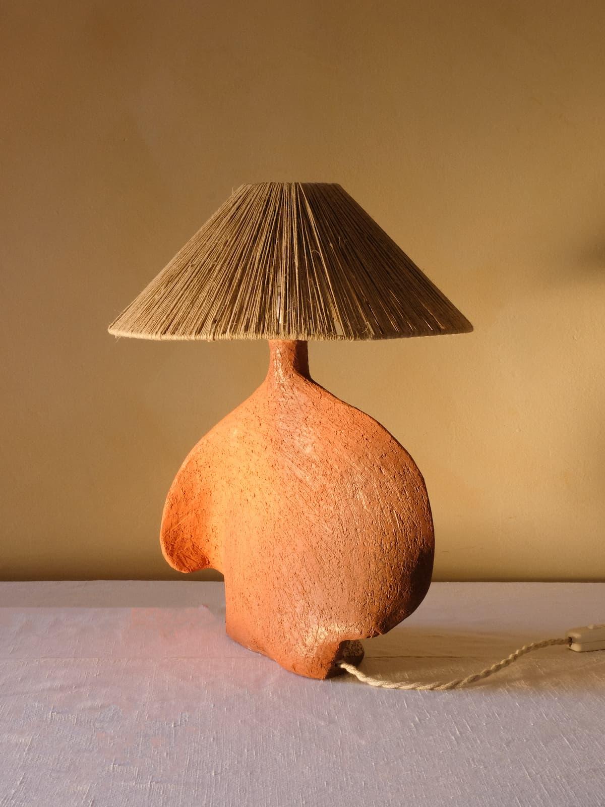 Terracotta lamp base, 80's