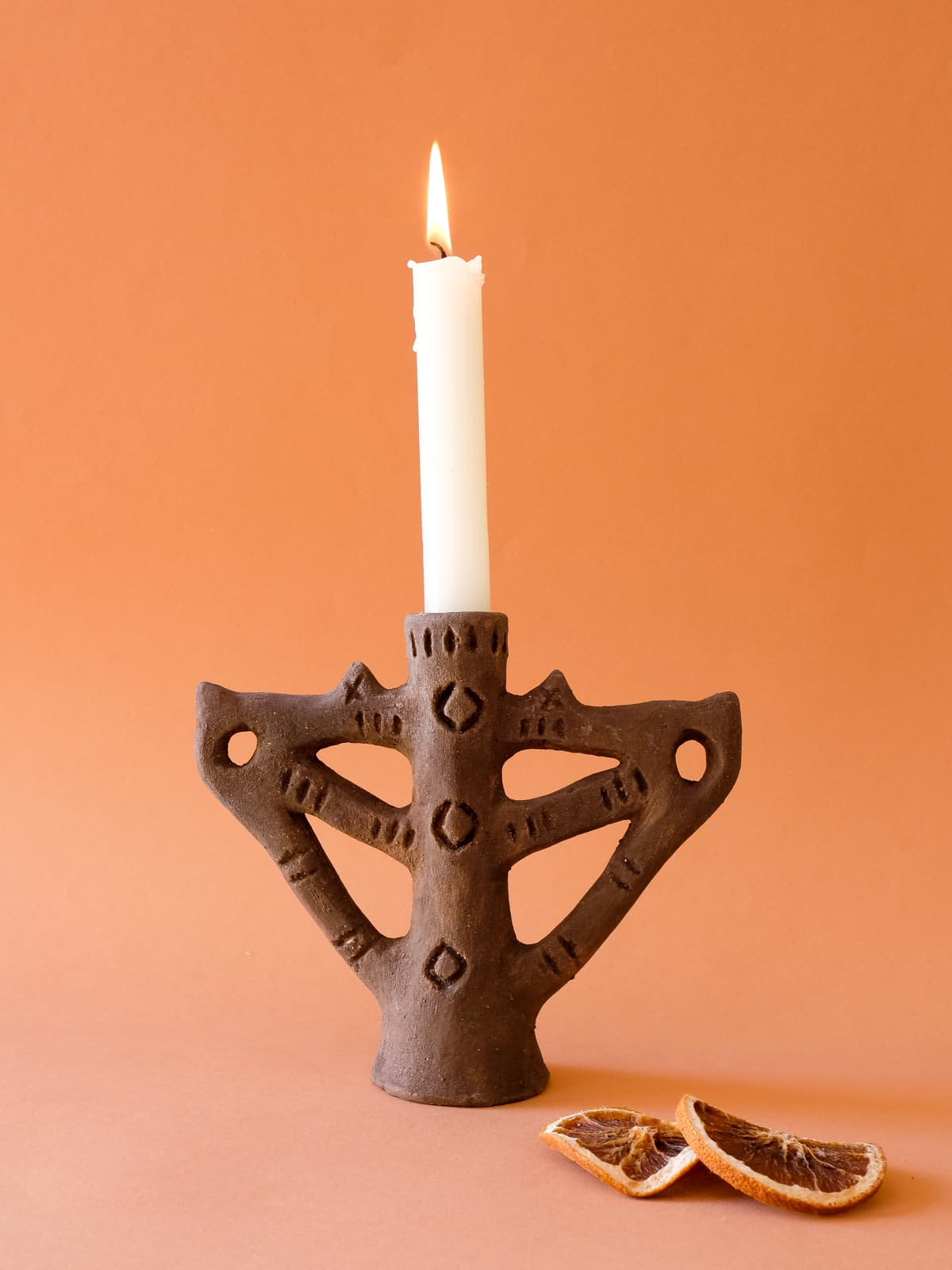 brown qandil candle holder