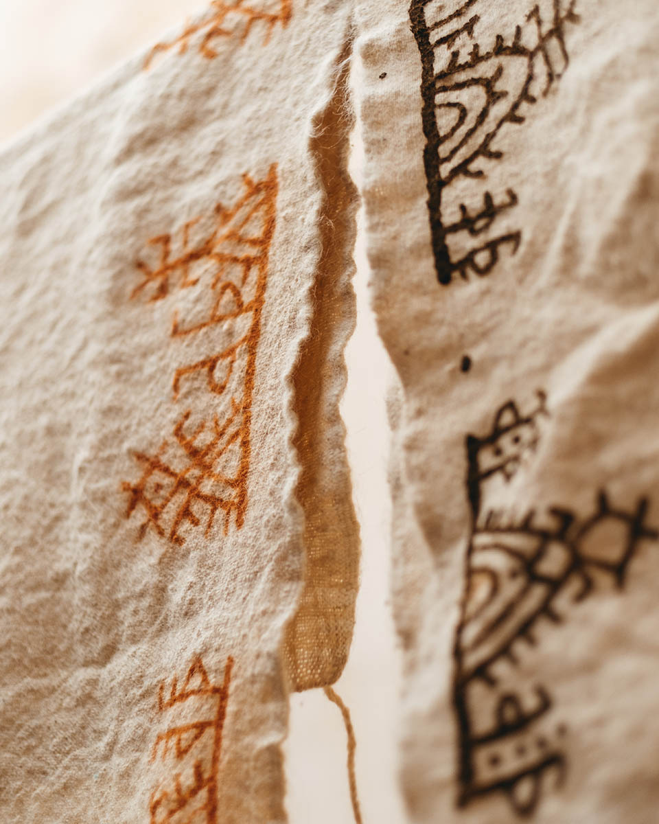 Traditionnal wool weaving decorated with henna from the Anti Atlas