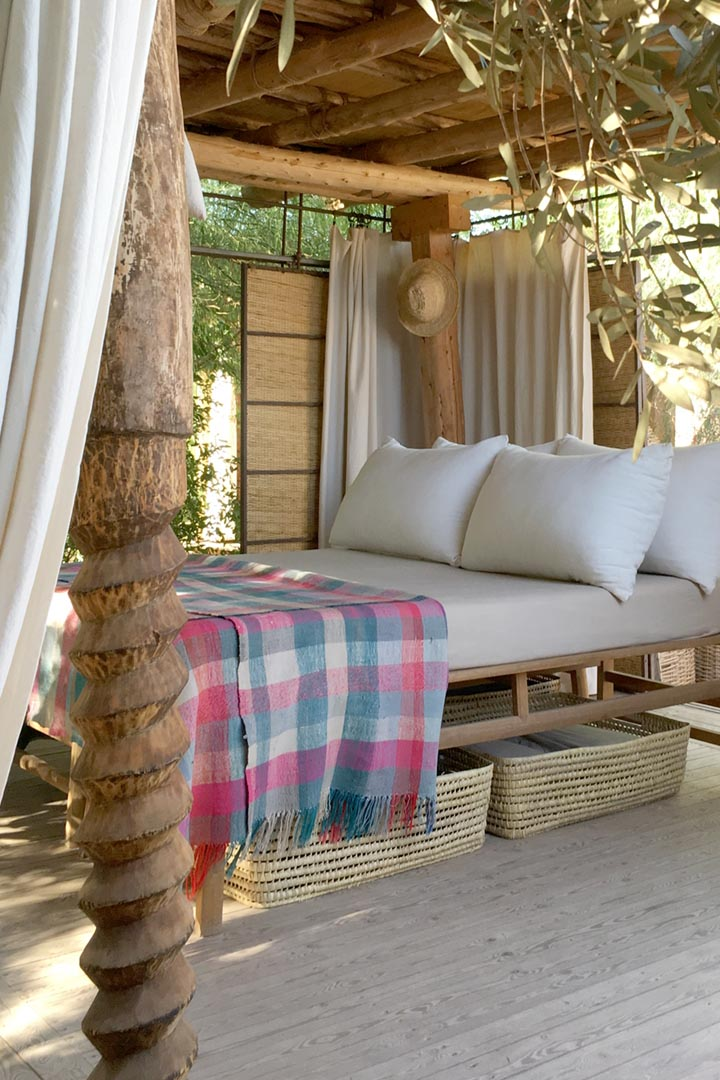 The bed in the open pavilion at Dar Zahia's garden